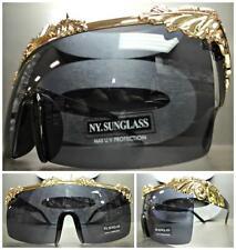 OVERSIZE VINTAGE RETRO SHIELD Style SUNGLASSES Unique Gold Frame Dark Black Lens