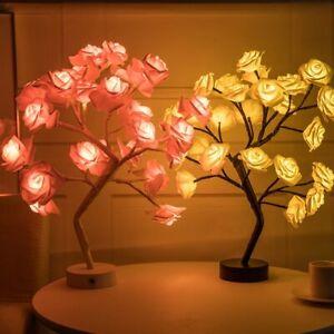 Rose Tree Table Lamp LED Garland Lights Adjustable Pink Rose Flower Desk Wedding