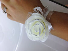 2 Bracelets Demoiselles d'Honneur Enfant & Adolescente Fleur Crème pour Mariage