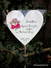 Memorial Heart Mothers Fathers Day Special Mum Grave Ornament Personalised 15cm