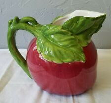 Vintage Red Apple Shaped Ceramic Pitcher with Green Handle