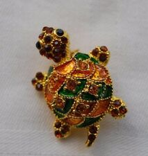 Beautiful turtle tortoise brooch with sparkly amber crystals gold look