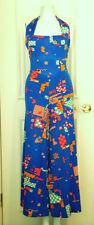 Missoni jumpsuit silk jersey halter XS blue geometric print wide leg vintage