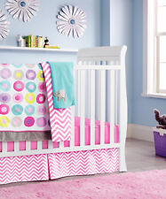 New Baby Girls 10 Pieces Cotton Nursery Bedding Crib Cot Sets-- Rainbow Circles