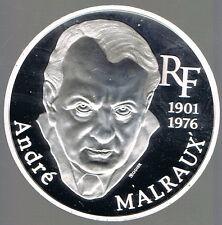 FRANCE - BELLE EPREUVE  ARGENT- 100 FRANCS ANDRE MALRAUX 1997 sur MODULE DE 10Fr