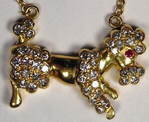 18K Gold and Diamond Poodle Dog Pendant with Trace-Link Chain - Wow!