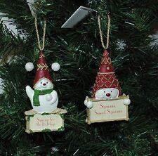 Snow Gnome, Sgnome, Snowman Christmas Ornament, Set of Two