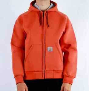 Man Jacket Carhartt Car-Lux Hooded Jacket (Brick Orange / Grey) Size XS