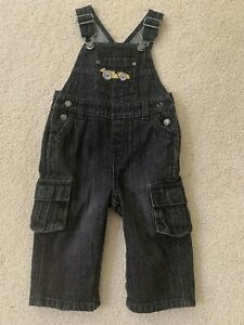 NWT Gymboree Boys Denim Pants Jumper 6-12 M Black Baby Toddler Infant #1a