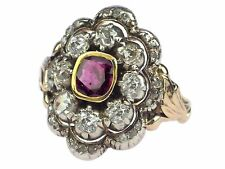 Historismus 585 Gold 950 Platin 0,50 ct Rubin 1,0 ct Diamant Damen Ring !