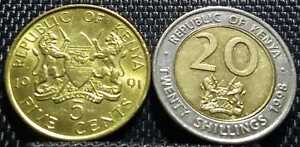 1991/1998 Republic of Kenya 5 Cent/20 Shilling coin 2pcs(+ FREE 1 coin) #D3062