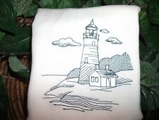 "LIGHT HOUSE  DESIGN, ON WHITE FLOUR SACK TOWEL, 15"" X 28"""