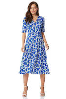 Roman Originals Short Sleeve Printed Fit and Flare Dress