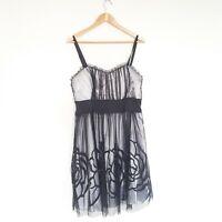 City Chic Womens Plus Size Medium Black Mesh Tie Waist Evening Dress