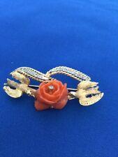 Vintage Victorian Dove Bird Coral Rose Diamond Ribbon 14k Brooch Signed
