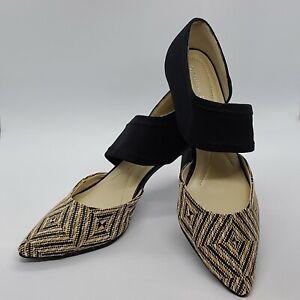 Andrew Geller Size 8M Tibby Natural Tan Beige Black Pointed Toe Strap Heels
