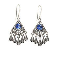Roman Glass Tear Drop Earrings Yemenite Filigree 925 Sterling Silver