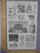 Rare Antique Original VTG Etruskische Kunst Etruscans Illustration Art Print