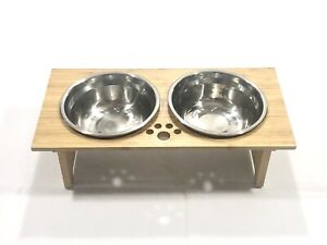 Raised Wooden Dog Food And Water Feeding TrayWith Stainless Steel Bowls