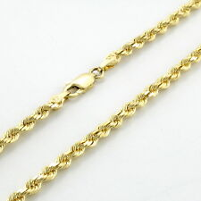 """Real 10K Yellow Gold 2.5mm Diamond Cut Italian Rope Chain Pendant Necklace 24"""""""