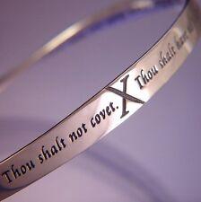 Religious Bracelet Bangle Inspire Message 10 Commandments Prayer STERLING SILVER