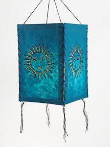 Lampenschirm Sonne, türkis, LOKTA Papier, Papierleuchte Papierlampe Lampion Häng