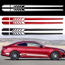 new 2Pcs Car Side Body Vinyl Decal Sticker Racing Stripe Decals Graphics