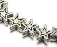 32 Metallperlen Silber 6mm Stern Zwischenteile Spacer Perlen Schmuck F383