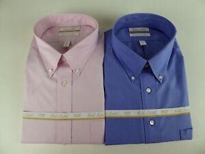Roundtree & Yorke Gold Label Non Iron EZ Wash Pinpoint Cotton Dress Shirt NWT