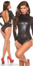 9270 Body Nero a Maniche Lunghe in Tessuto Vinile PVC WetLook con Schiena Nuda