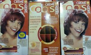 3 CREME OF NATURE PERMANENT HAIR COLORS RAGIN' RED 7.6