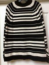 GAP Womens  Black/ White Stripe Merino Wool Blend Sweater, Size L.    NWT
