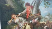 Vintage European Romantic Scene Oil Painting with dog and sheep on board