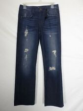 NEW Denimocracy Womens Jeans Size 28 (28x29) Bott Cut Distressed Dark Wash