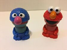 "Sesame Street Wooden Lot ELMO GROVER Wood Body Figures 3"" Play Town"