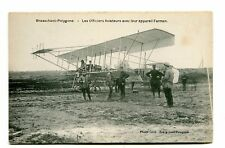 Vintage Postcard BRASSCHAET-POLYGONE Airmen with their Farman Airplane pilot