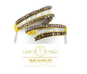 Brandy Diamond® Chocolate Brown 18K YG Silver Sparkling Baguette Design Ring