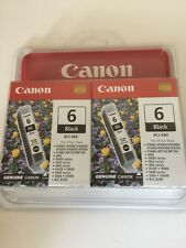 2 Genuine Canon 6 Black BCI-6BK Printer Ink Cartridges