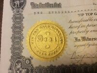 TIP TOP GOLD MINES, INC. Stock Certificates. For The Person Who Has Everything!