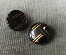 "Pair Vintage Celluloid Black/Gold/Clear Geometric Art Deco Pattern Buttons 3/4"""