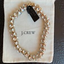 NWT $158 J.Crew Twisted Crystal Necklace Gold Plated Glass Stones-VERY Beautiful