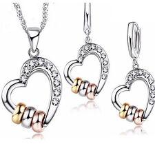 Herz mit Swarovski® Kristall Schmuckset Kette + Anhänger + Ohrringe Silber Gold