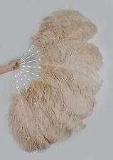"Camel Glittery LED Shine Bushy Double Ostrich Feather Fans Burlesque 28""x 53"""
