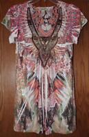 NEW - One World Micro Jersey Flutter Sleeved Studded Applique Printed Top S M L