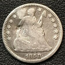 1858-O Rare Tougher Date Seated Liberty Silver Half Dime Dent On Obverse !