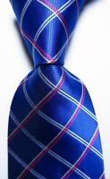 New Classic Checks Blue Red White JACQUARD WOVEN 100% Silk Men's Tie Necktie