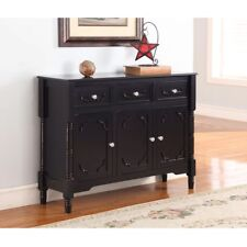 Solid Wood Black Finish Sideboard Console Table with Storage Drawers Organize