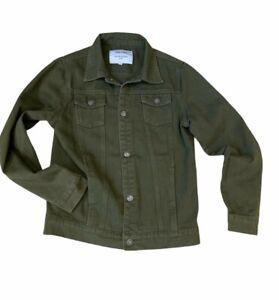 LIQUOR N POKER Denim Jacket SIZE 8 Utility Khaki Green Women's Weekend Casual