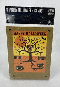 Pack of 8 Funny Halloween Greeting Cards Happy Halloween Owl Black Cat Pumpkin