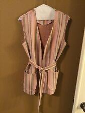 Vintage 1970s Womens Belted Vest Pinstriped Beige Brown Orange Peach